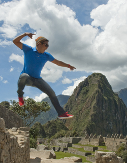 Rick jumping around at Machu Picchu