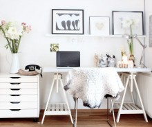 telephone-vintage-white-feather-desk-with-white-table-escritoire-vas-flowers-laptop-pen-hand-statue-decoration-abstract-painting-wood-floor