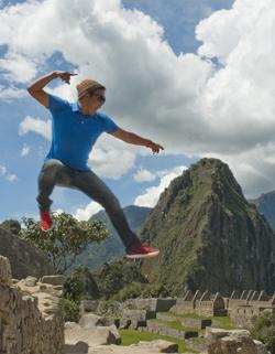 Rick jumping around at Machu Picchu