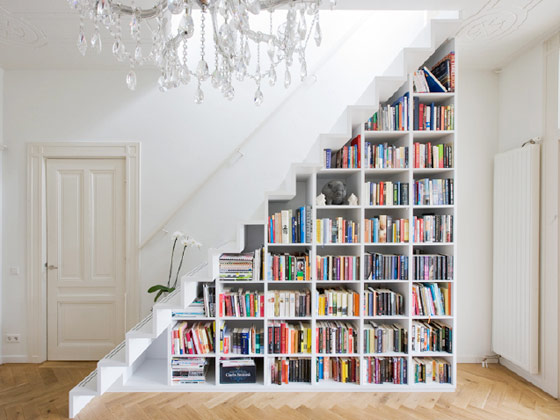Looking for Easy Storage Solutions? Have you thought about building a bookcase under the stairs? ... photo by CC user wicker-furniture on Flickr
